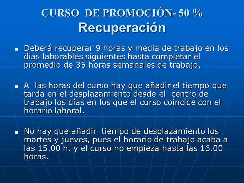 CURSO DE PROMOCIÓN- 50 % Recuperación Deberá recuperar 9 horas y media de trabajo en los días laborables siguientes hasta completar el promedio de 35