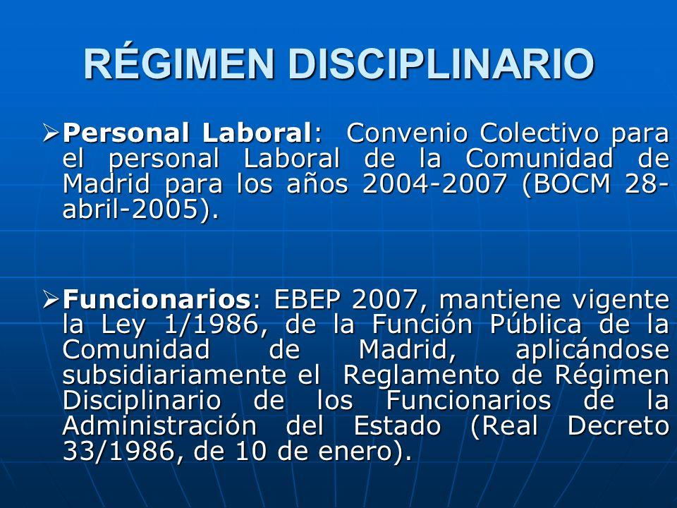 RÉGIMEN DISCIPLINARIO Personal Laboral: Convenio Colectivo para el personal Laboral de la Comunidad de Madrid para los años 2004-2007 (BOCM 28- abril-