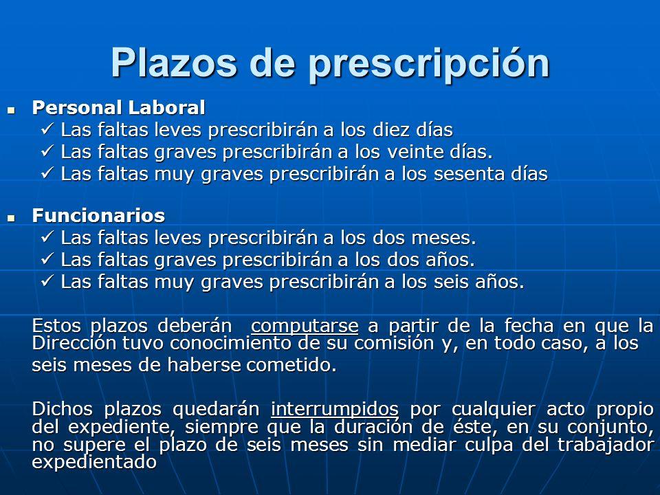 Plazos de prescripción Personal Laboral Personal Laboral Las faltas leves prescribirán a los diez días Las faltas leves prescribirán a los diez días L