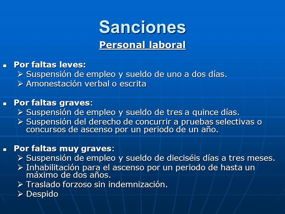 Sanciones Personal laboral Por faltas leves: Por faltas leves: Suspensión de empleo y sueldo de uno a dos días. Suspensión de empleo y sueldo de uno a