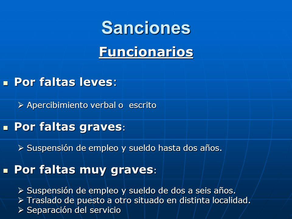 Sanciones Funcionarios Por faltas leves: Por faltas leves: Apercibimiento verbal o escrito Apercibimiento verbal o escrito Por faltas graves : Por fal