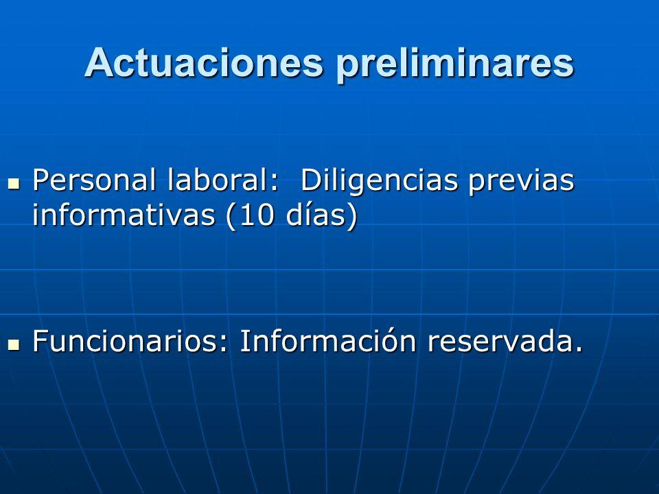 Actuaciones preliminares Personal laboral: Diligencias previas informativas (10 días) Personal laboral: Diligencias previas informativas (10 días) Fun