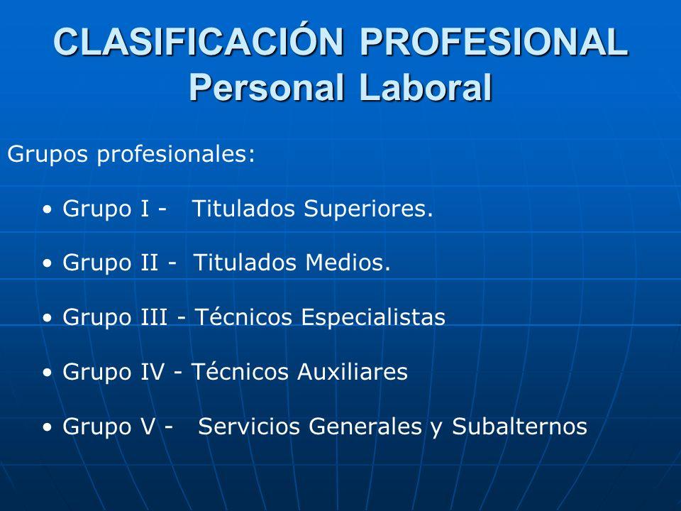 CLASIFICACIÓN PROFESIONAL Personal Laboral Grupos profesionales: Grupo I - Titulados Superiores. Grupo II - Titulados Medios. Grupo III - Técnicos Esp
