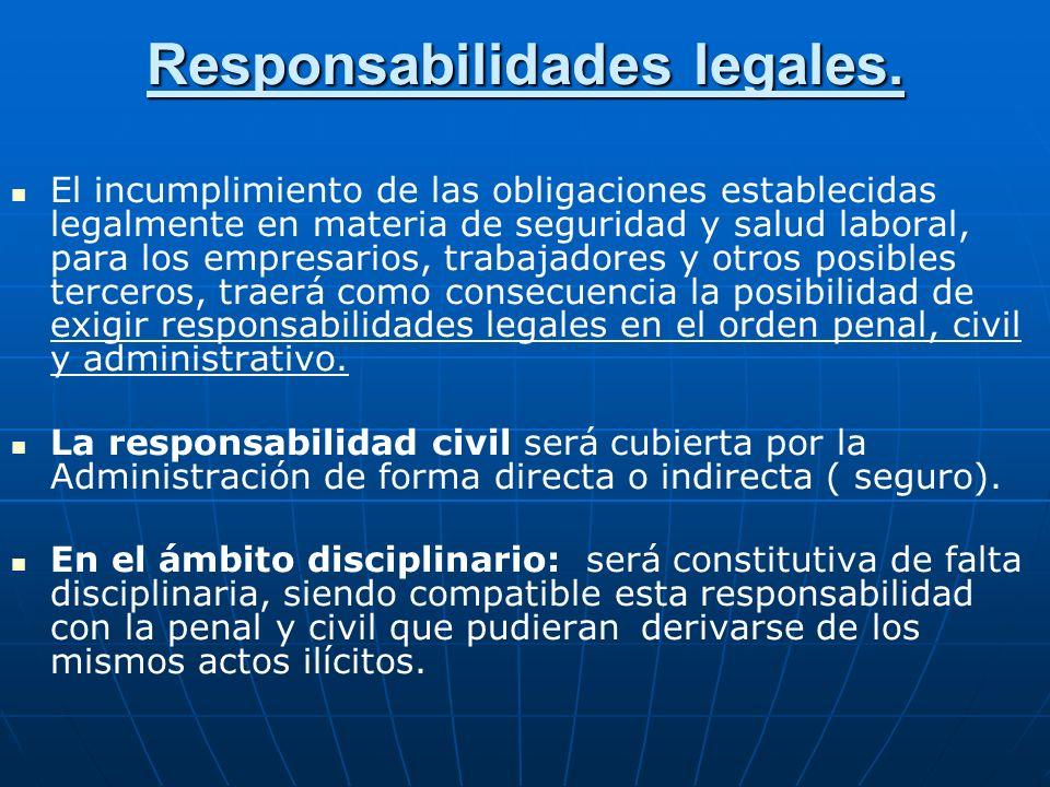 Responsabilidades legales. El incumplimiento de las obligaciones establecidas legalmente en materia de seguridad y salud laboral, para los empresarios