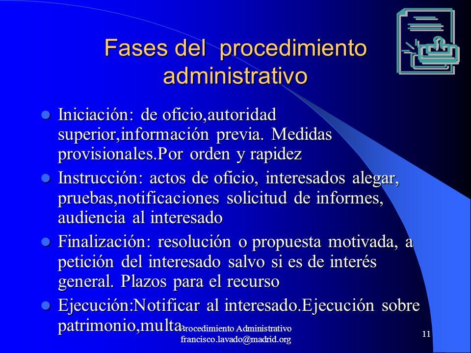 Procedimiento Administrativo francisco.lavado@madrid.org 11 Fases del procedimiento administrativo Iniciación: de oficio,autoridad superior,informació