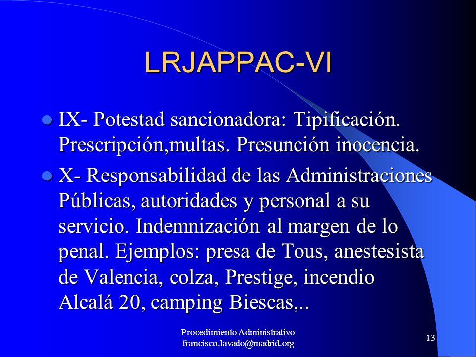 Procedimiento Administrativo francisco.lavado@madrid.org 13 LRJAPPAC-VI IX- Potestad sancionadora: Tipificación. Prescripción,multas. Presunción inoce