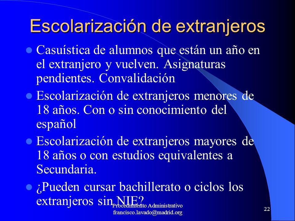 Procedimiento Administrativo francisco.lavado@madrid.org 22 Escolarización de extranjeros Casuística de alumnos que están un año en el extranjero y vu