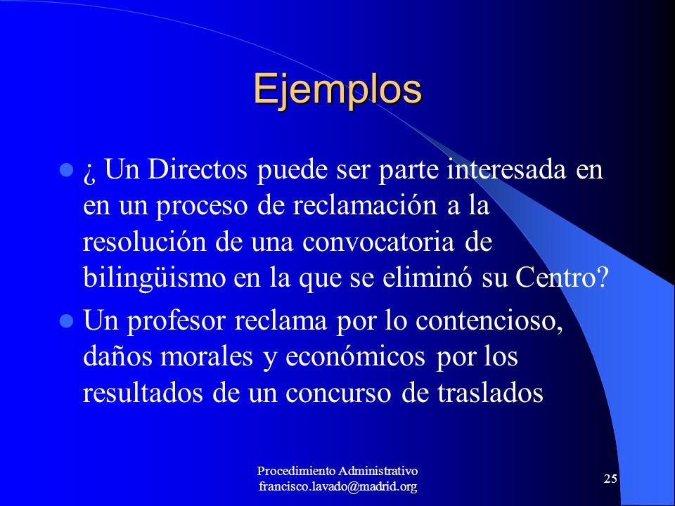 Procedimiento Administrativo francisco.lavado@madrid.org 25 Ejemplos ¿ Un Directos puede ser parte interesada en en un proceso de reclamación a la res
