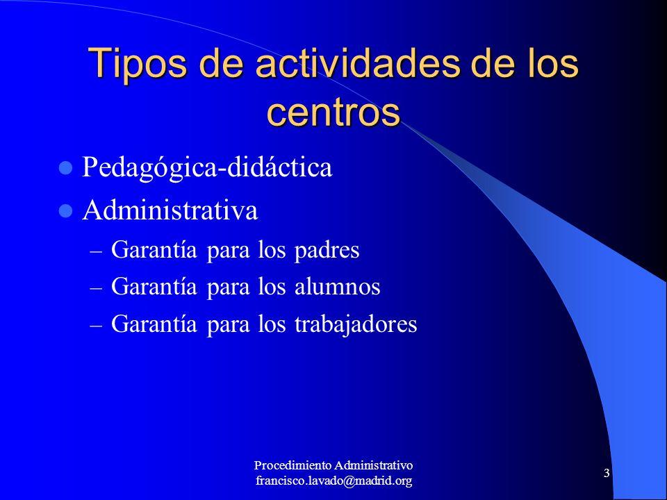 Procedimiento Administrativo francisco.lavado@madrid.org 3 Tipos de actividades de los centros Pedagógica-didáctica Administrativa – Garantía para los