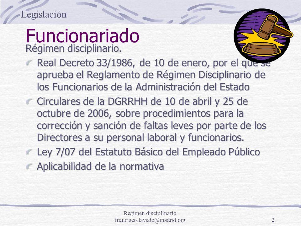 2 Funcionariado Régimen disciplinario. Real Decreto 33/1986, de 10 de enero, por el que se aprueba el Reglamento de Régimen Disciplinario de los Funci