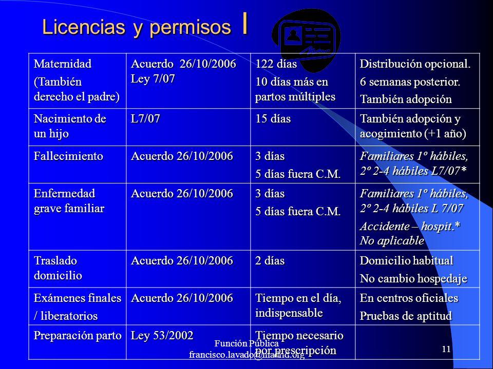 Función Pública francisco.lavado@madrid.org 11 Licencias y permisos I Maternidad (También derecho el padre) Acuerdo 26/10/2006 Ley 7/07 122 días 10 dí