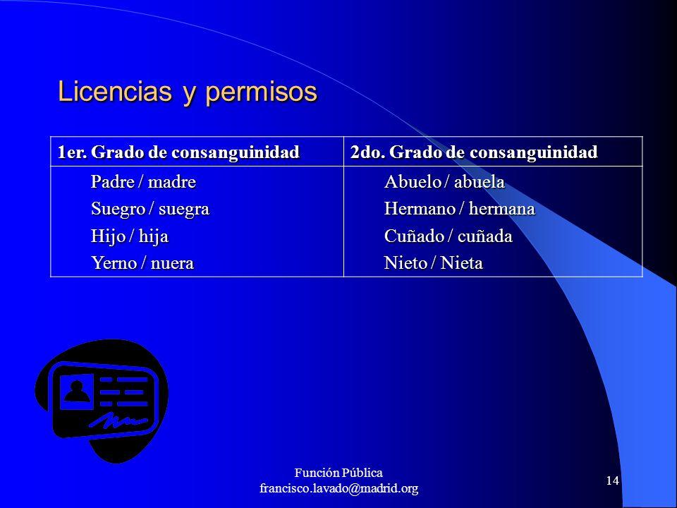 Función Pública francisco.lavado@madrid.org 14 Licencias y permisos 1er. Grado de consanguinidad 2do. Grado de consanguinidad Padre / madre Suegro / s
