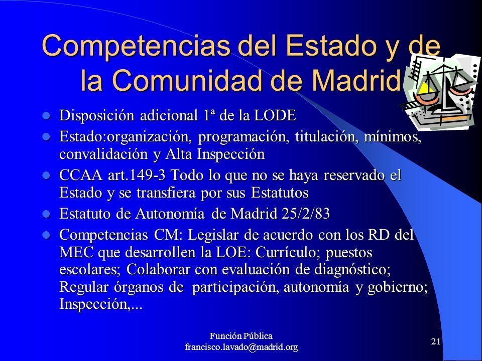 Función Pública francisco.lavado@madrid.org 21 Competencias del Estado y de la Comunidad de Madrid Disposición adicional 1ª de la LODE Disposición adi