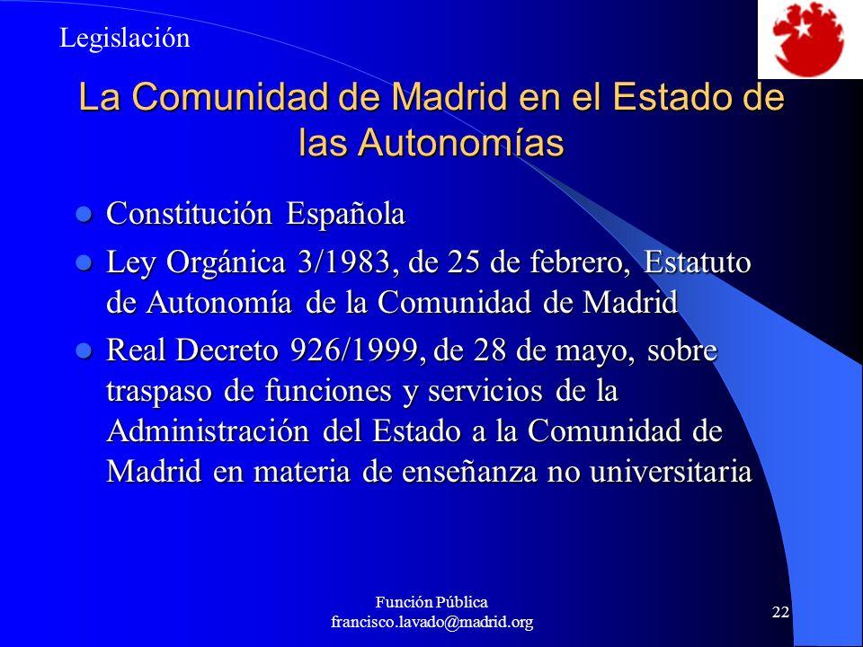 Función Pública francisco.lavado@madrid.org 22 La Comunidad de Madrid en el Estado de las Autonomías Constitución Española Constitución Española Ley O