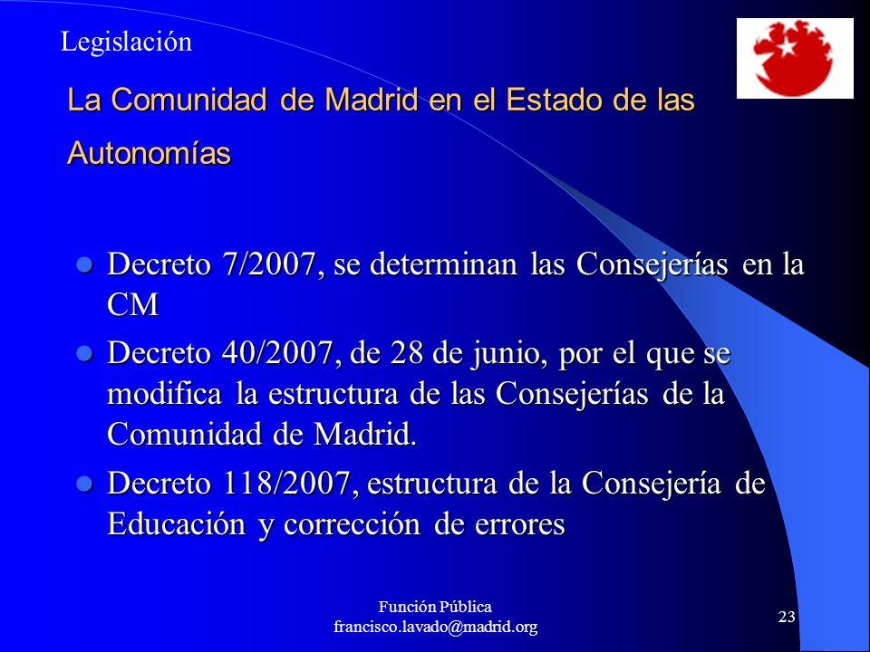 Función Pública francisco.lavado@madrid.org 23 La Comunidad de Madrid en el Estado de las Autonomías Decreto 7/2007, se determinan las Consejerías en