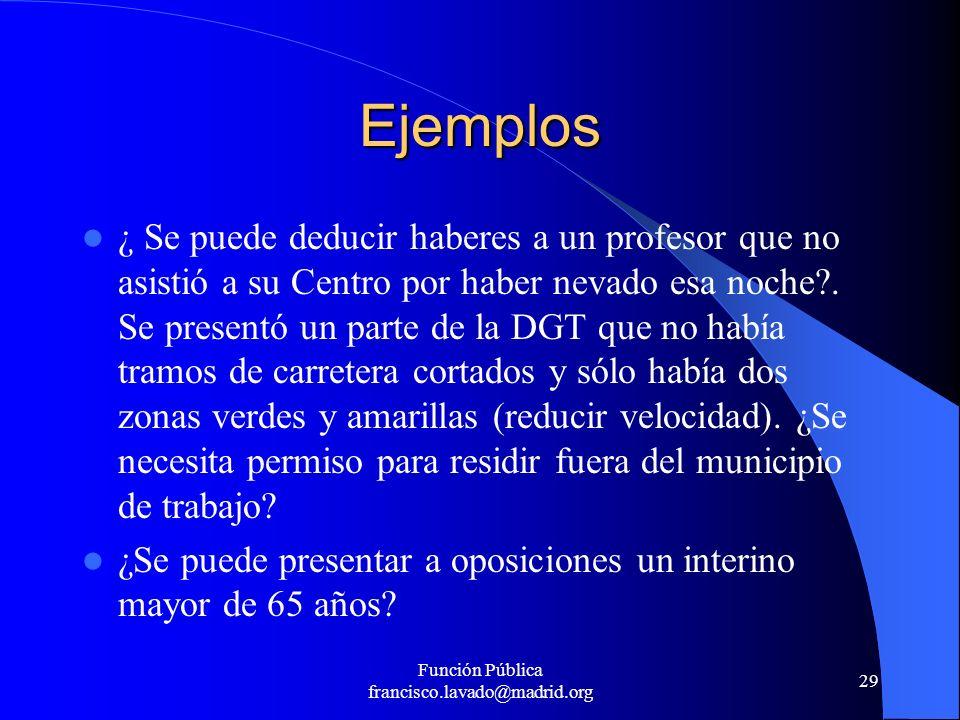 Función Pública francisco.lavado@madrid.org 29 Ejemplos ¿ Se puede deducir haberes a un profesor que no asistió a su Centro por haber nevado esa noche