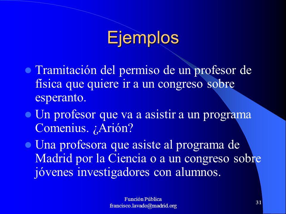 Función Pública francisco.lavado@madrid.org 31 Ejemplos Tramitación del permiso de un profesor de física que quiere ir a un congreso sobre esperanto.