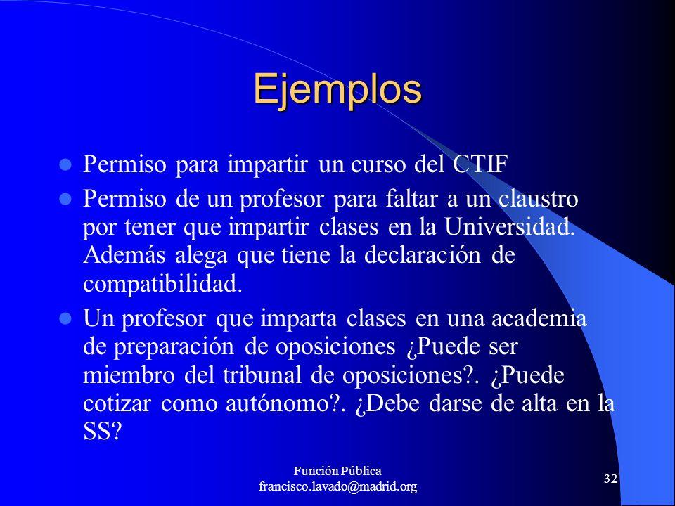 Función Pública francisco.lavado@madrid.org 32 Ejemplos Permiso para impartir un curso del CTIF Permiso de un profesor para faltar a un claustro por t