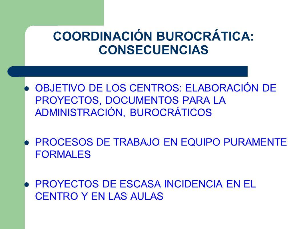 COORDINACIÓN BUROCRÁTICA: CONSECUENCIAS OBJETIVO DE LOS CENTROS: ELABORACIÓN DE PROYECTOS, DOCUMENTOS PARA LA ADMINISTRACIÓN, BUROCRÁTICOS PROCESOS DE