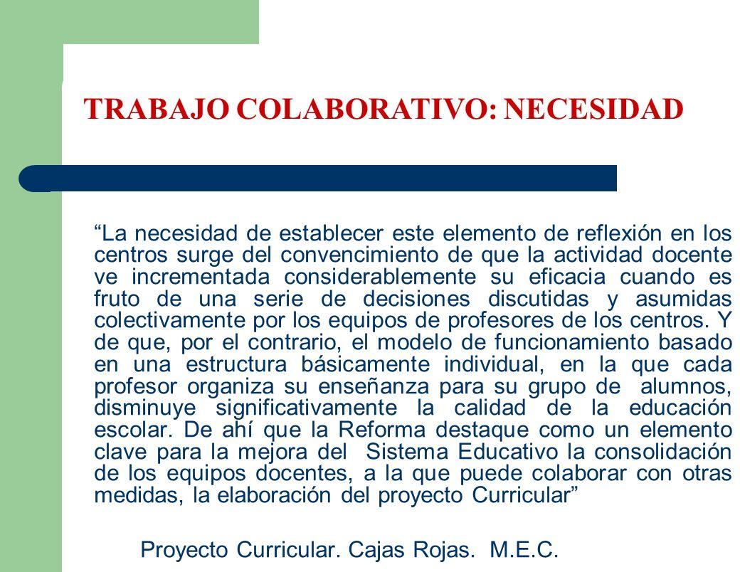 La necesidad de establecer este elemento de reflexión en los centros surge del convencimiento de que la actividad docente ve incrementada considerable