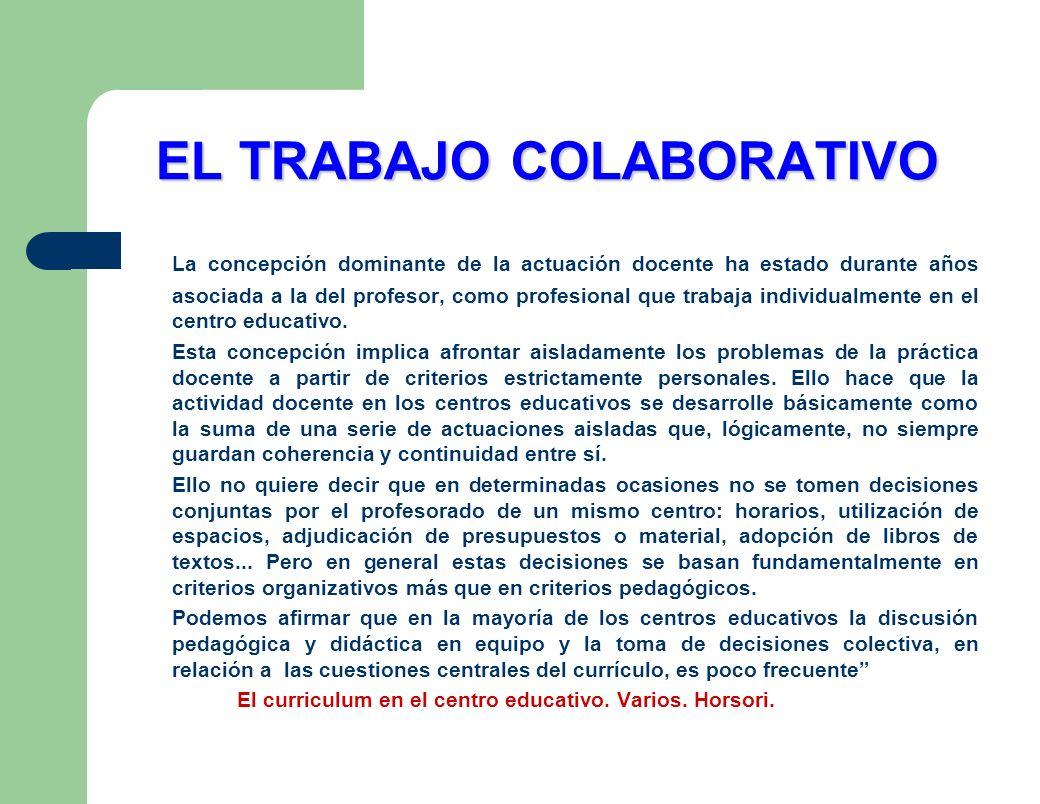EL TRABAJO COLABORATIVO La concepción dominante de la actuación docente ha estado durante años asociada a la del profesor, como profesional que trabaj