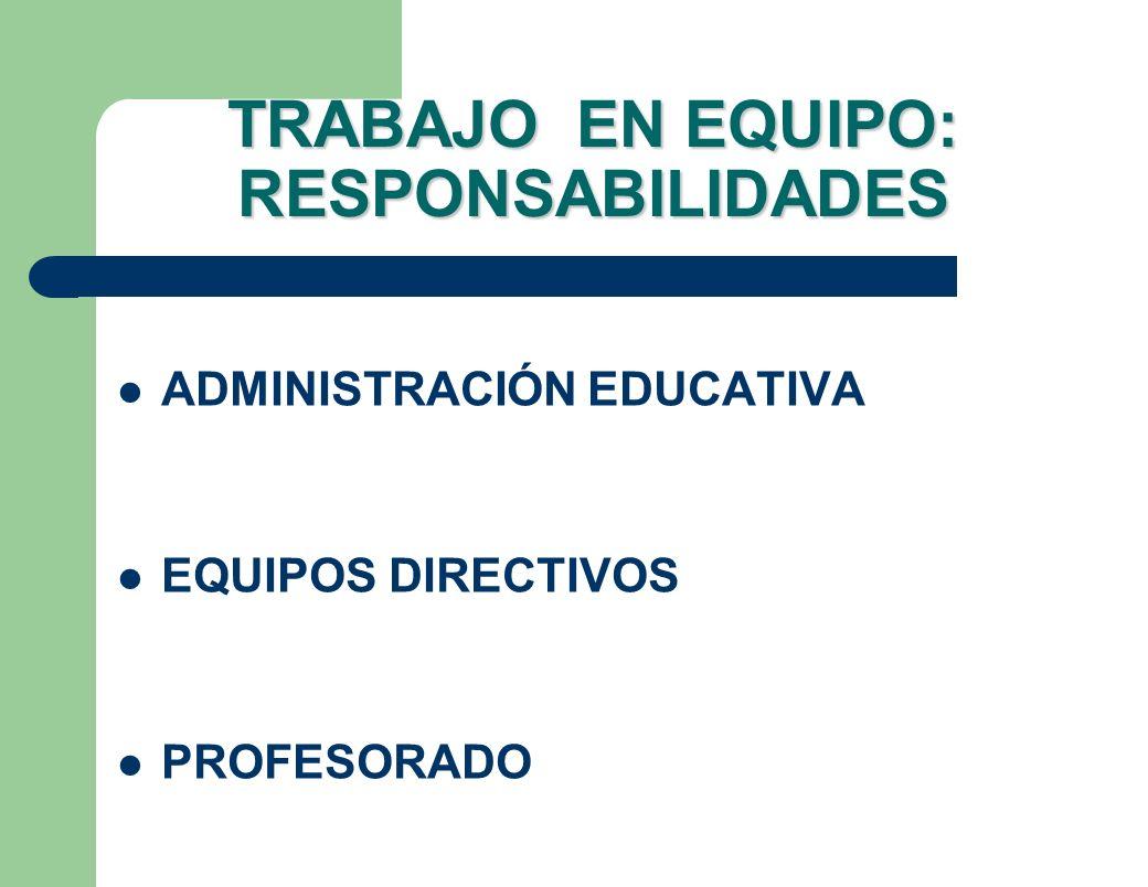 TRABAJO EN EQUIPO: RESPONSABILIDADES ADMINISTRACIÓN EDUCATIVA EQUIPOS DIRECTIVOS PROFESORADO