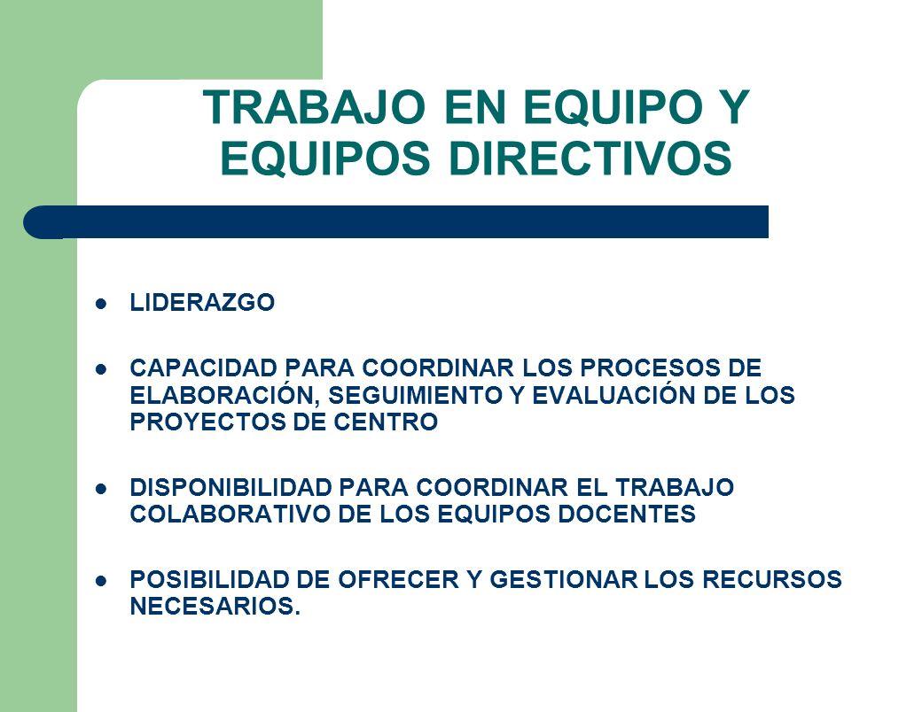TRABAJO EN EQUIPO Y EQUIPOS DIRECTIVOS LIDERAZGO CAPACIDAD PARA COORDINAR LOS PROCESOS DE ELABORACIÓN, SEGUIMIENTO Y EVALUACIÓN DE LOS PROYECTOS DE CE