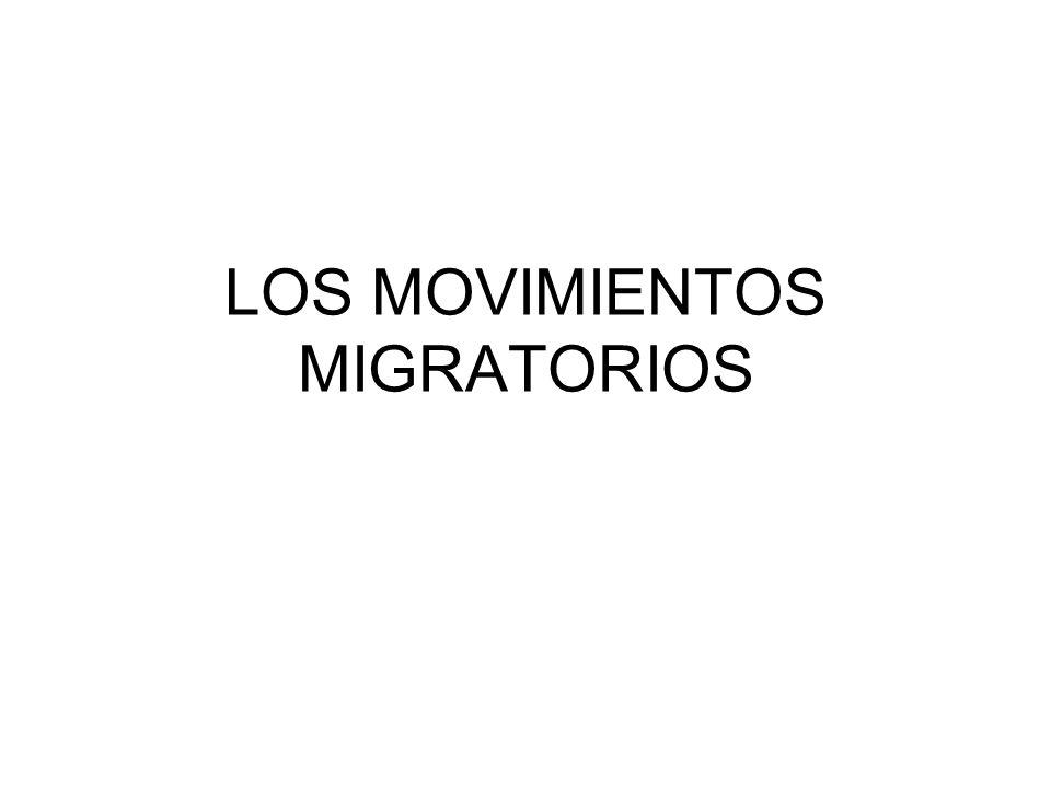 MOVIMIENTOS MIGRATORIOS I, TI, E, TE, SM, TSM, CR, TCR Se producen por los desequilibrios económico-demográficos.