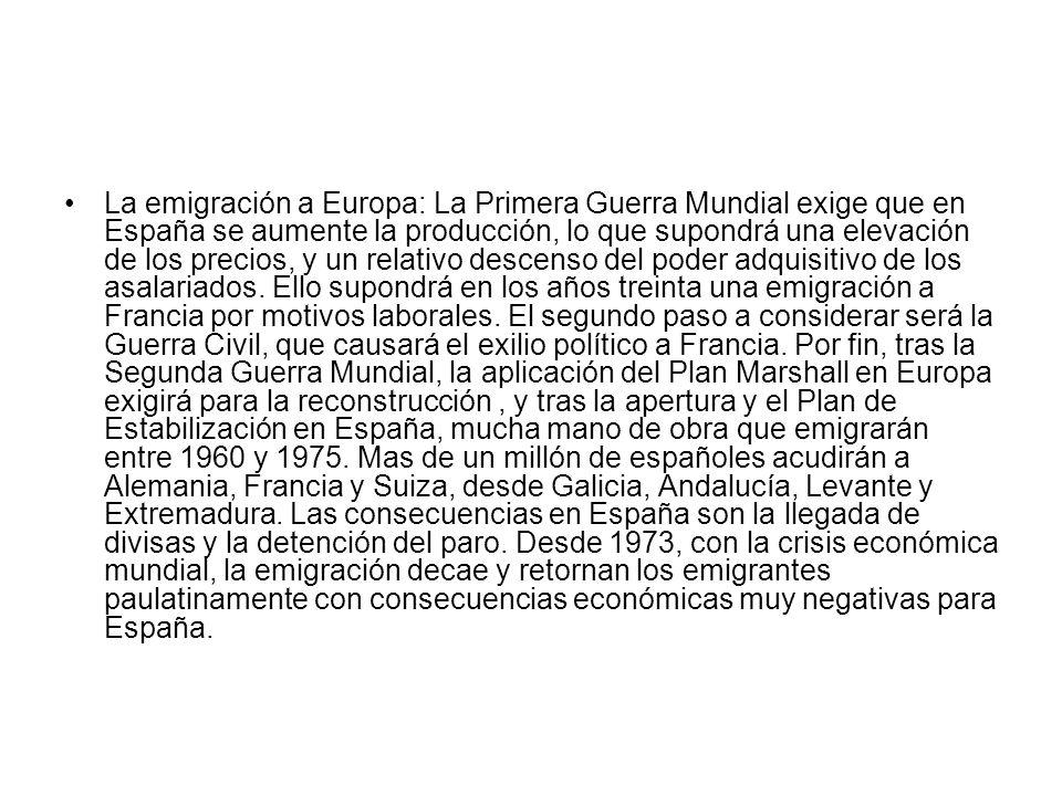 La inmigración.España ha pasado de ser un país de emigración a ser un país de inmigrantes.