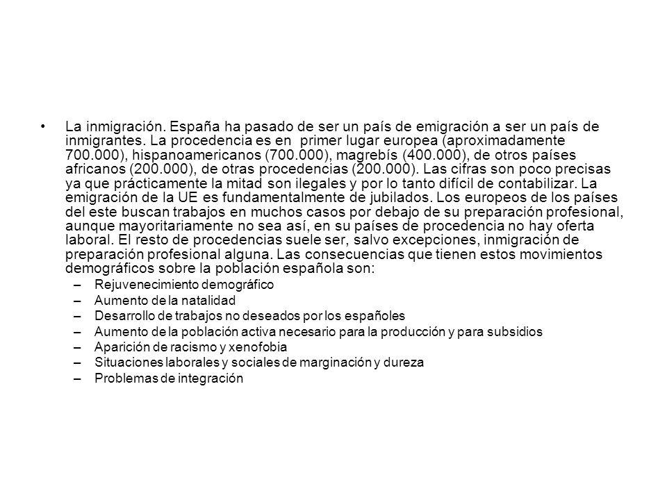 La inmigración. España ha pasado de ser un país de emigración a ser un país de inmigrantes. La procedencia es en primer lugar europea (aproximadamente