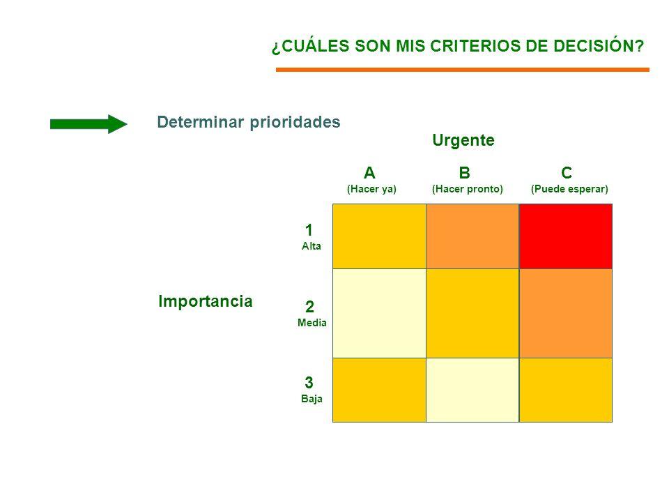 Urgente Importancia A (Hacer ya) B (Hacer pronto) C (Puede esperar) 3 Baja 2 Media 1 Alta ¿CUÁLES SON MIS CRITERIOS DE DECISIÓN? Determinar prioridade