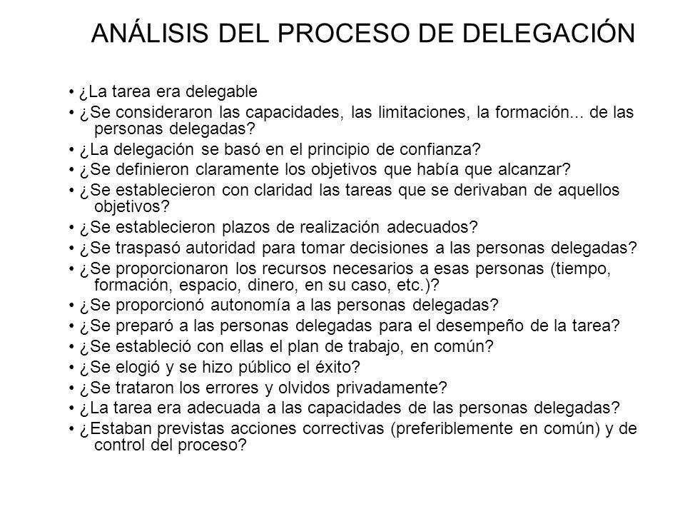 ANÁLISIS DEL PROCESO DE DELEGACIÓN ¿ La tarea era delegable ¿Se consideraron las capacidades, las limitaciones, la formación... de las personas delega
