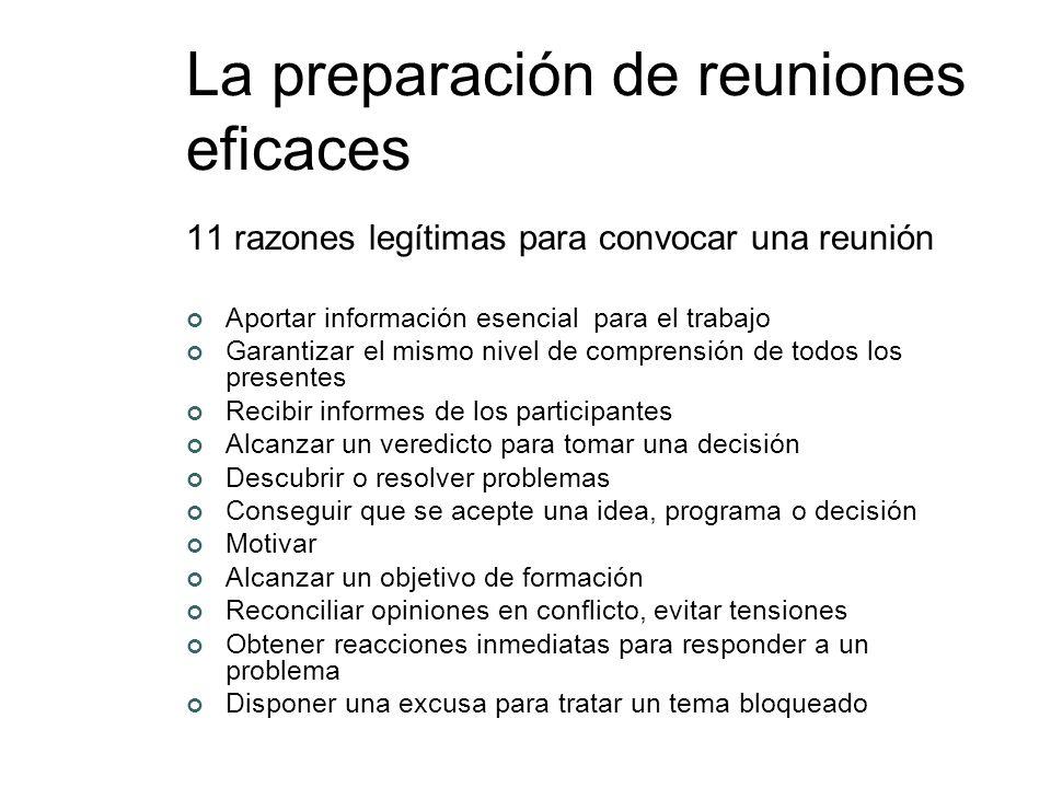 La preparación de reuniones eficaces 11 razones legítimas para convocar una reunión Aportar información esencial para el trabajo Garantizar el mismo n