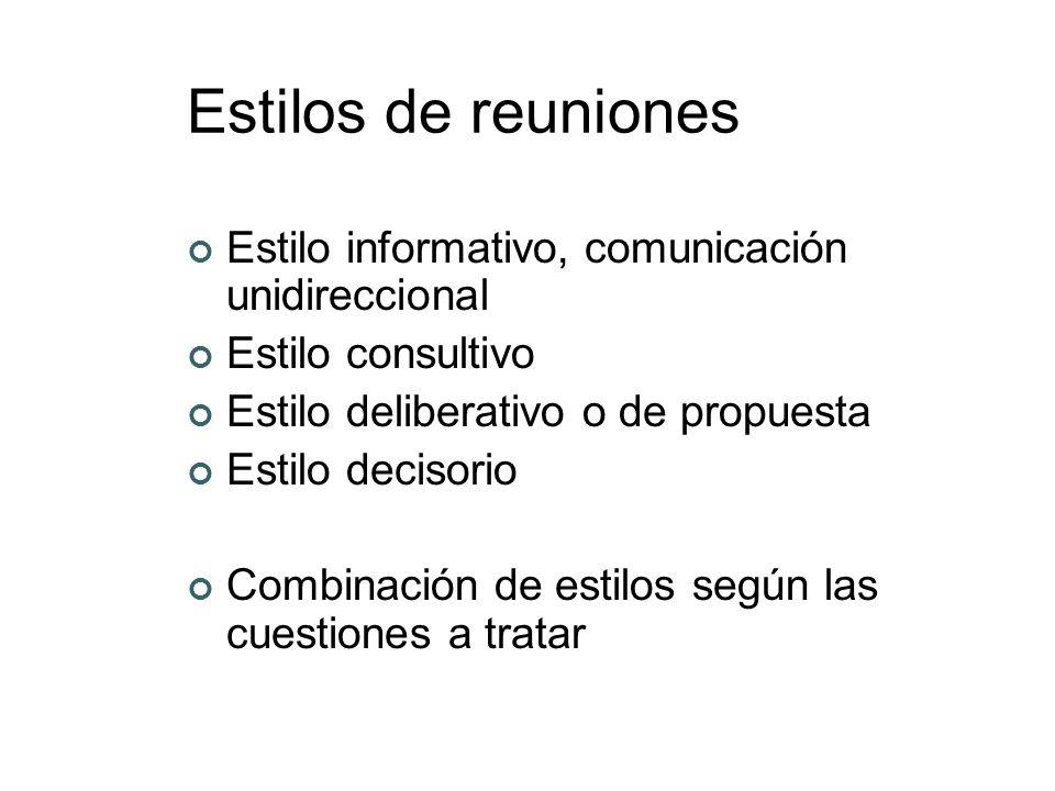 Estilos de reuniones Estilo informativo, comunicación unidireccional Estilo consultivo Estilo deliberativo o de propuesta Estilo decisorio Combinación