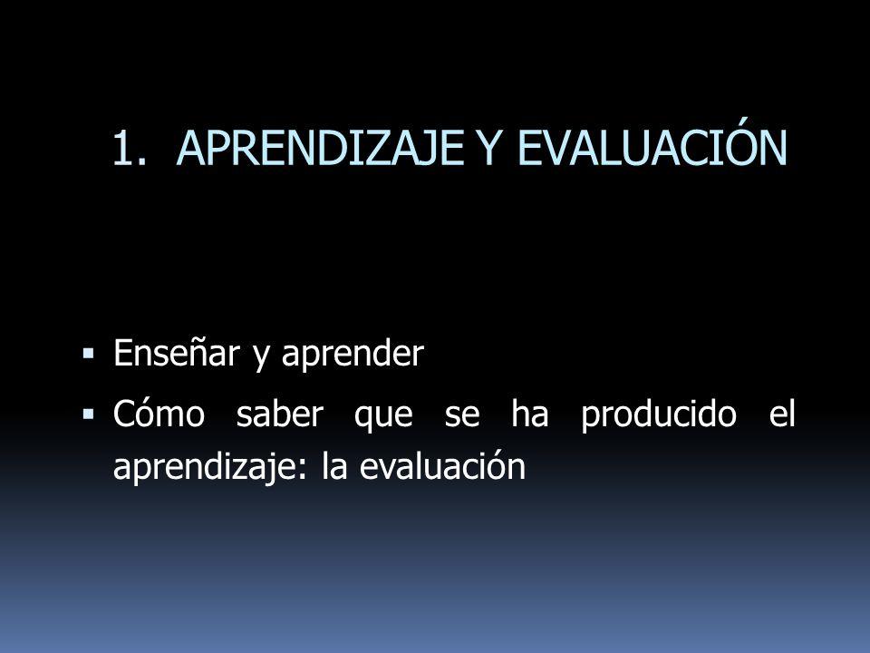1. APRENDIZAJE Y EVALUACIÓN Enseñar y aprender Cómo saber que se ha producido el aprendizaje: la evaluación