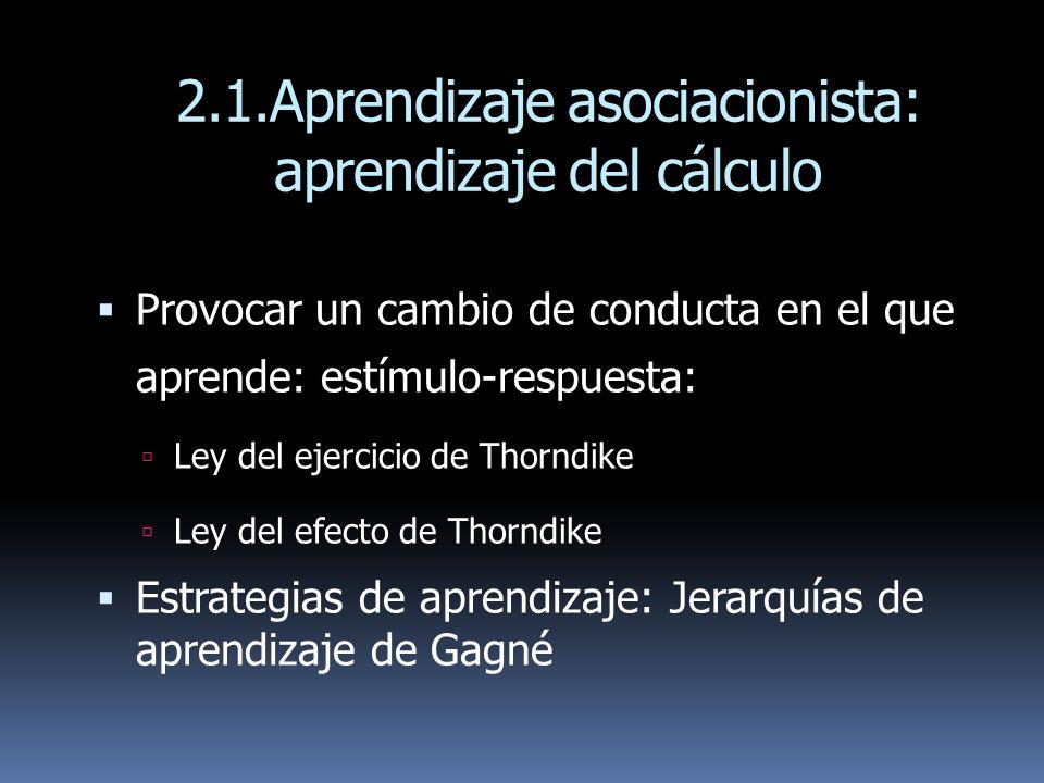 2.1.Aprendizaje asociacionista: aprendizaje del cálculo Provocar un cambio de conducta en el que aprende: estímulo-respuesta: Ley del ejercicio de Tho