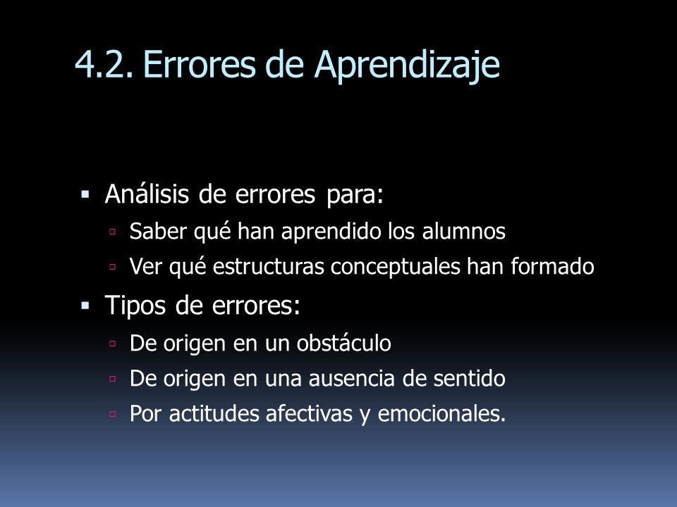 4.2.Errores de Aprendizaje Análisis de errores para: Saber qué han aprendido los alumnos Ver qué estructuras conceptuales han formado Tipos de errores