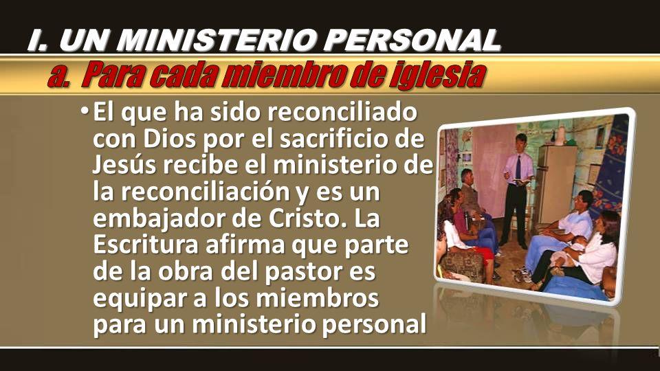 El que ha sido reconciliado con Dios por el sacrificio de Jesús recibe el ministerio de la reconciliación y es un embajador de Cristo. La Escritura af