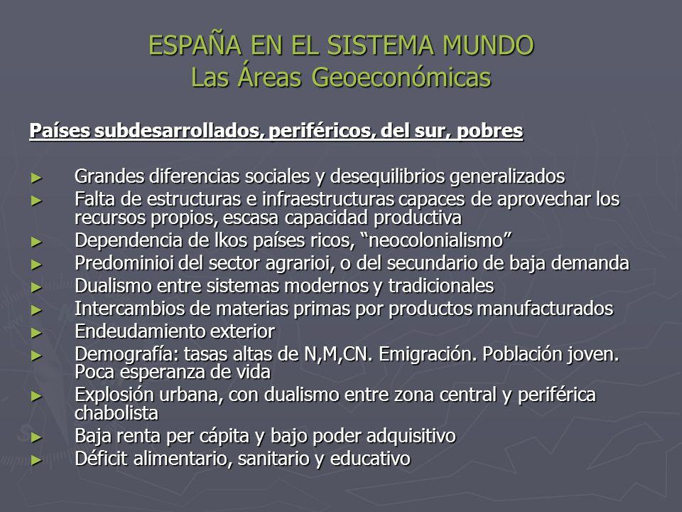 ESPAÑA EN EL SISTEMA MUNDO Las Áreas Geoeconómicas Países subdesarrollados, periféricos, del sur, pobres Grandes diferencias sociales y desequilibrios