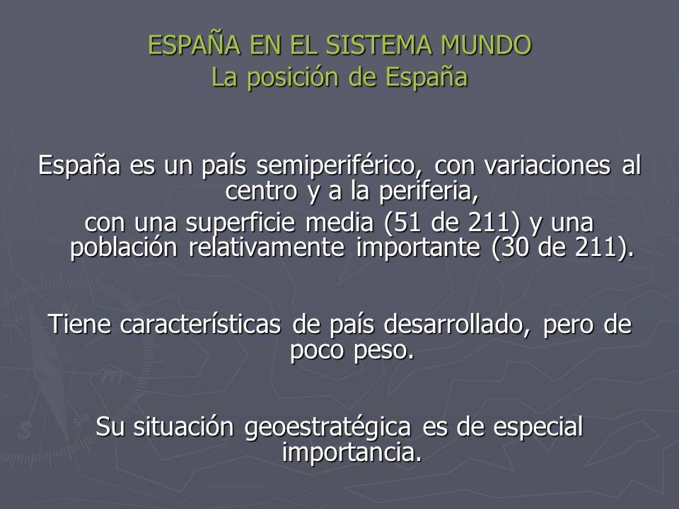 ESPAÑA EN EL SISTEMA MUNDO La posición de España España es un país semiperiférico, con variaciones al centro y a la periferia, con una superficie medi