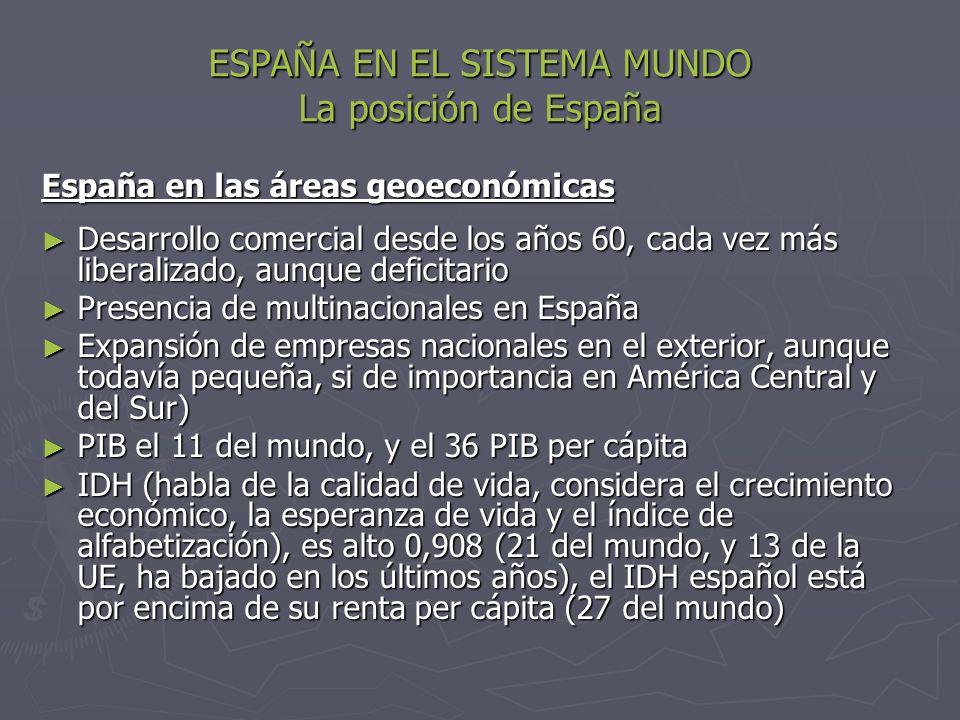 ESPAÑA EN EL SISTEMA MUNDO La posición de España España en las áreas geoeconómicas Desarrollo comercial desde los años 60, cada vez más liberalizado,