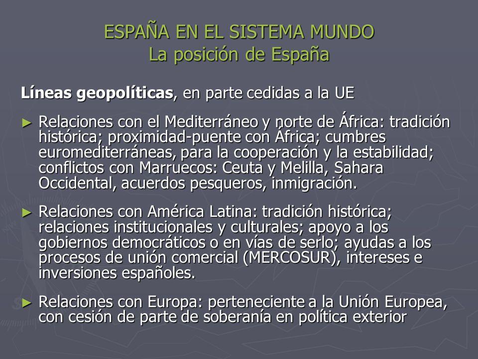 ESPAÑA EN EL SISTEMA MUNDO La posición de España Líneas geopolíticas, en parte cedidas a la UE Relaciones con el Mediterráneo y norte de África: tradi