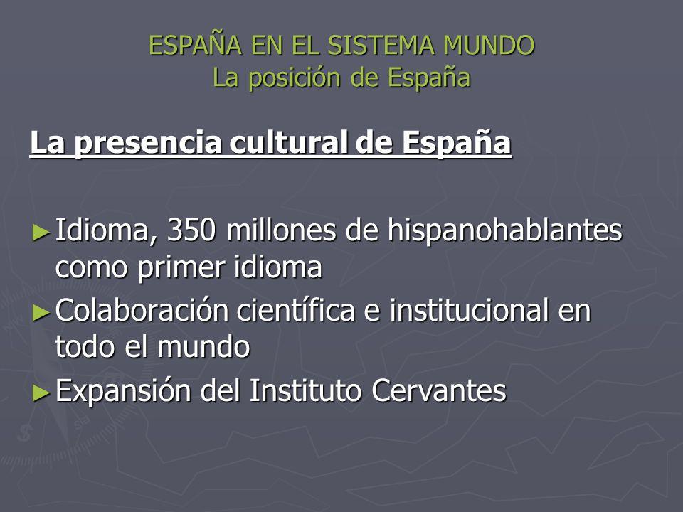 ESPAÑA EN EL SISTEMA MUNDO La posición de España La presencia cultural de España Idioma, 350 millones de hispanohablantes como primer idioma Idioma, 3