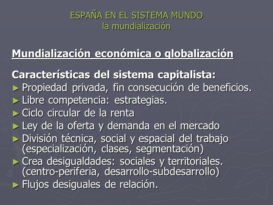 ESPAÑA EN EL SISTEMA MUNDO la mundialización Mundialización económica o globalización Características del sistema capitalista: Propiedad privada, fin