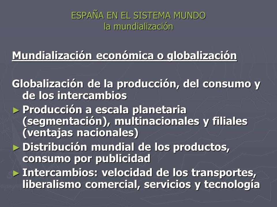 ESPAÑA EN EL SISTEMA MUNDO la mundialización Mundialización económica o globalización Globalización de la producción, del consumo y de los intercambio