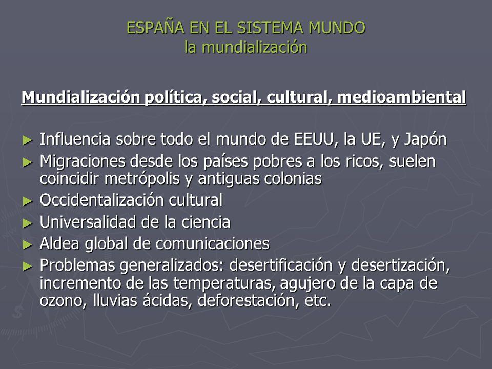 ESPAÑA EN EL SISTEMA MUNDO la mundialización Mundialización política, social, cultural, medioambiental Influencia sobre todo el mundo de EEUU, la UE,