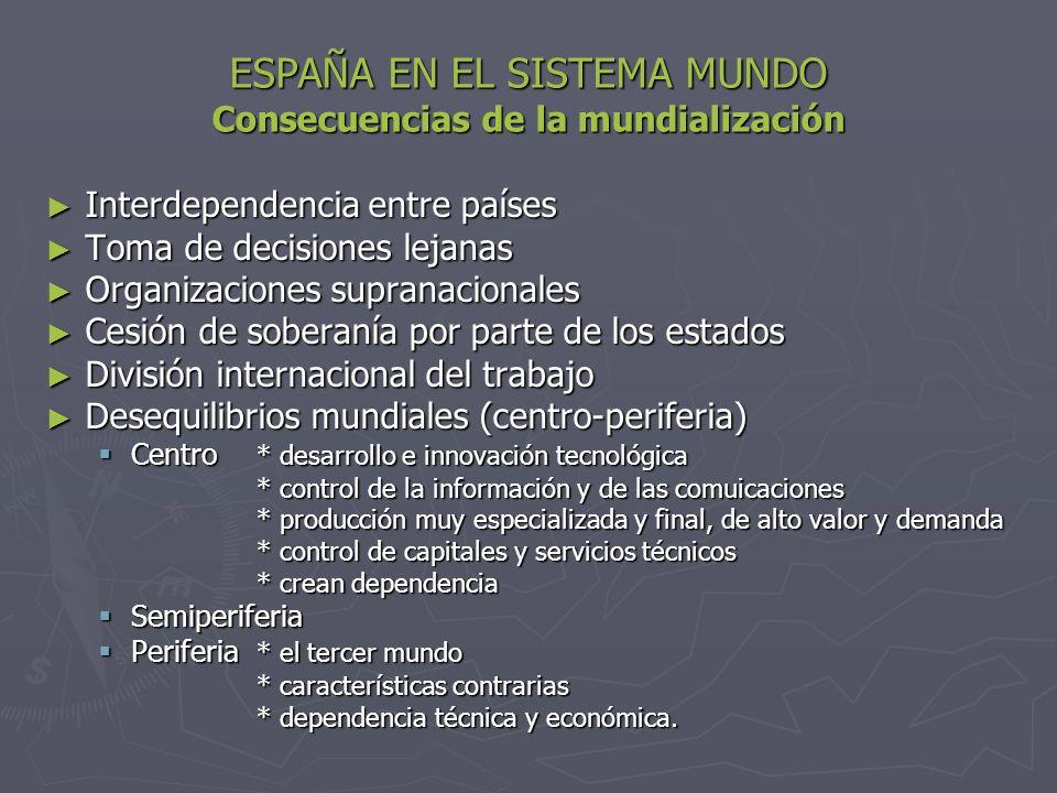 ESPAÑA EN EL SISTEMA MUNDO Consecuencias de la mundialización Interdependencia entre países Interdependencia entre países Toma de decisiones lejanas T