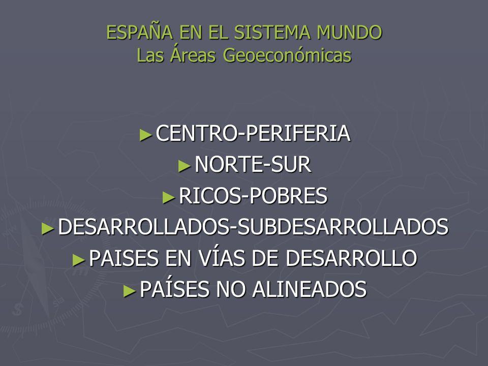 ESPAÑA EN EL SISTEMA MUNDO Las Áreas Geoeconómicas CENTRO-PERIFERIA CENTRO-PERIFERIA NORTE-SUR NORTE-SUR RICOS-POBRES RICOS-POBRES DESARROLLADOS-SUBDE