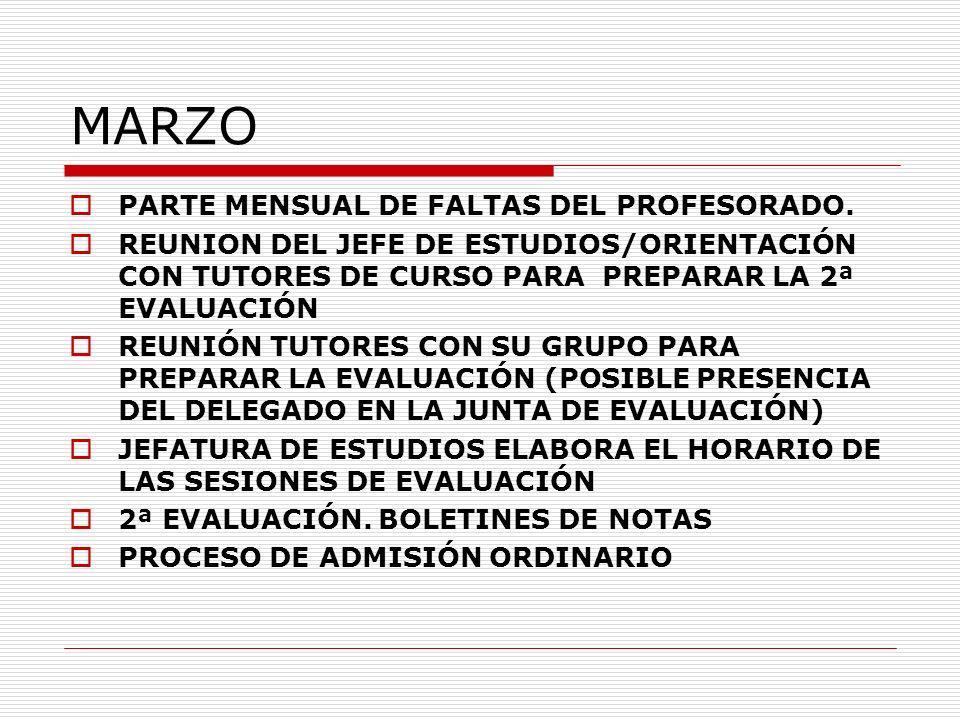 MARZO PARTE MENSUAL DE FALTAS DEL PROFESORADO. REUNION DEL JEFE DE ESTUDIOS/ORIENTACIÓN CON TUTORES DE CURSO PARA PREPARAR LA 2ª EVALUACIÓN REUNIÓN TU