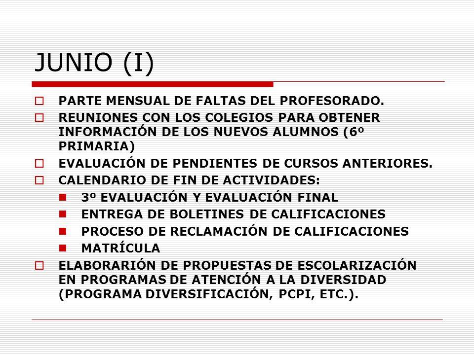 JUNIO (I) PARTE MENSUAL DE FALTAS DEL PROFESORADO. REUNIONES CON LOS COLEGIOS PARA OBTENER INFORMACIÓN DE LOS NUEVOS ALUMNOS (6º PRIMARIA) EVALUACIÓN